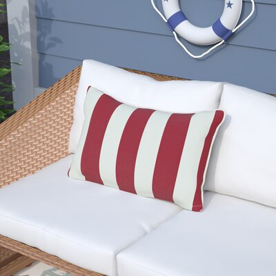 Melany Indoor/Outdoor Lumbar Pillow Color: Red/White