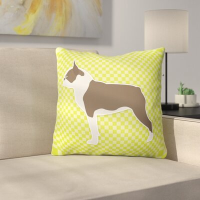 Boston Terrier Indoor/Outdoor Throw Pillow Size: 14 H x 14 W x 3 D, Color: Green