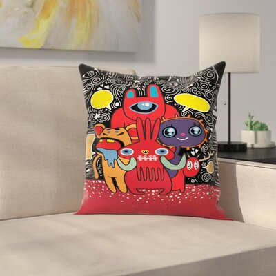 Monster Funny Characters Square Cushion Pillow Cover Size: 18 x 18