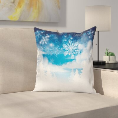 Winter Snowflakes and Stars Square Pillow Cover Size: 18 x 18