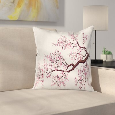 Japanese Cherry Blossom Bough Pillow Cover Size: 16 x 16