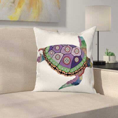 Fabric Sea Turtle Animal Artsy Square Pillow Cover Size: 16 x 16