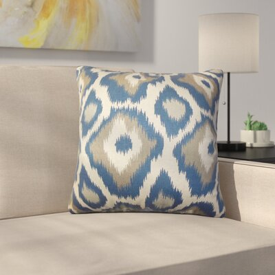 Camillei Ikat Cotton Throw Pillow Color: Indigolite, Size: 18 x 18