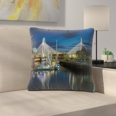 Boston Bunker Hill Bridge Throw Pillow Size: 16 x 16