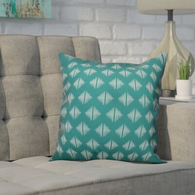 Revere Abstract Throw Pillow Color: Teal White, Size: 16 x 16, Type: Pillow Cover