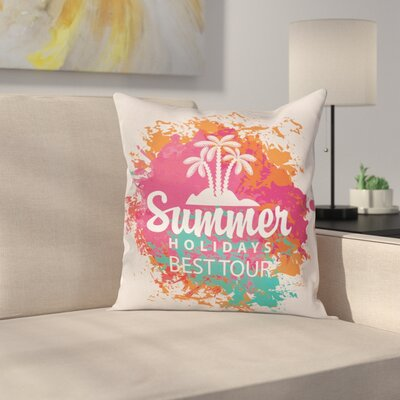 Lettering and Palms Cushion Pillow Cover Size: 16 x 16