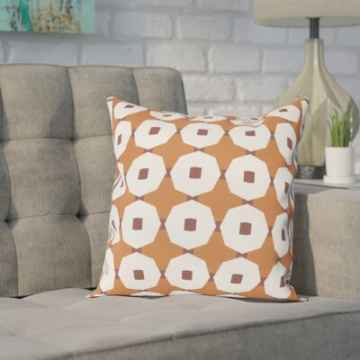 Waller Button Up Geometric Outdoor Throw Pillow Size: 16 H x 16 W, Color: Orange