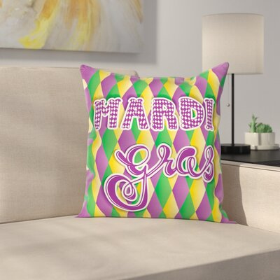 Mardi Gras Stylized Classical Square Cushion Pillow Cover Size: 18 x 18