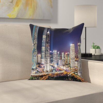 Skyline of Modern City Square Pillow Cover Size: 18 x 18