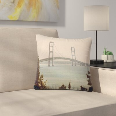 Angie Turner Mackinac Bridge Travel Outdoor Throw Pillow Size: 16 H x 16 W x 5 D