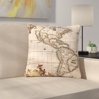 Bruce Stanfield Vintage Map of the Americas Outdoor Throw Pillow Size: 18 H x 18 W x 5 D