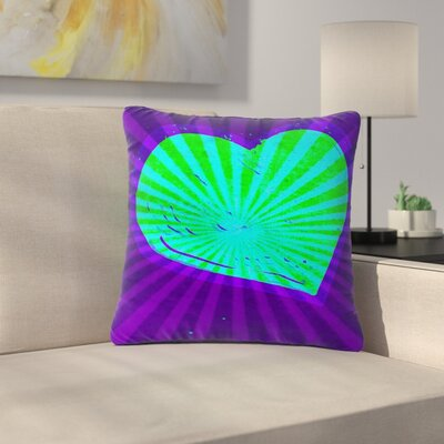 Anne LaBrie Love Beams Outdoor Throw Pillow Size: 18 H x 18 W x 5 D, Color: Purple/Green