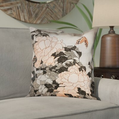 Clair Peonies with Butterfly Indoor Square Pillow Cover Color: Orange, Size: 18 x 18