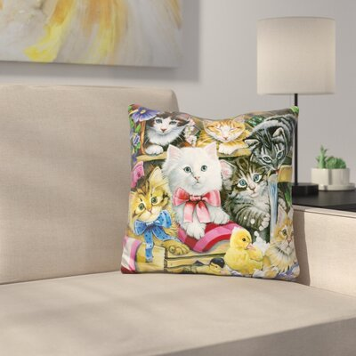 Bathtime Kittens Throw Pillow