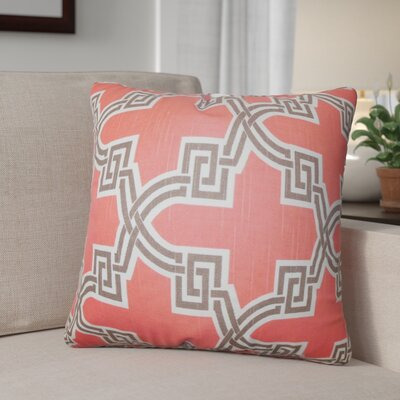 Danniel Geometric Cotton Throw Pillow Color: Orange