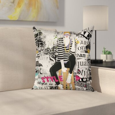Elegant Fashion Girl Grunge Square Pillow Cover Size: 18 x 18
