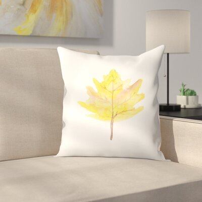 Jetty Printables Watercolor Leaf Throw Pillow Size: 16 x 16