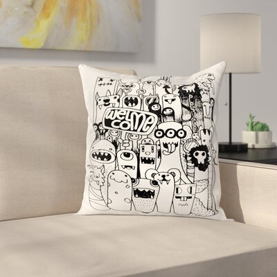 Welcoming Monster Figures Square Cushion Pillow Cover Size: 24 x 24
