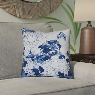 Clair Peonies and Butterfly Square Linen Throw Pillow Size: 18 H x 18 W, Color: Blue