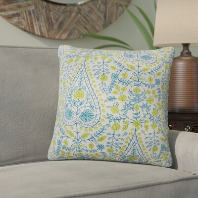 Willene Ikat Cotton Throw Pillow Color: Aqua Green