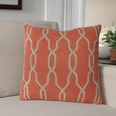 Edgell Geometric Throw Pillow Size: 18 H x 18 W x 4 D, Color: Orange-Red/Parchment, Filler: Down