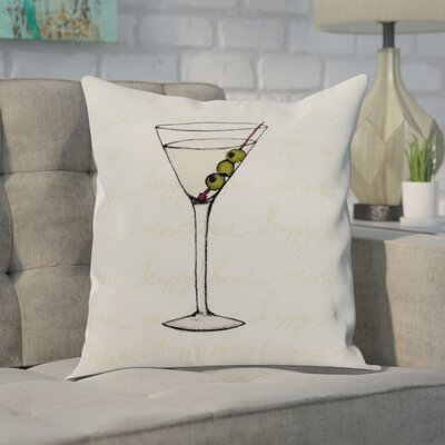 Carmack Martini Glass Throw Pillow Color: Coral, Size: 16 x 16