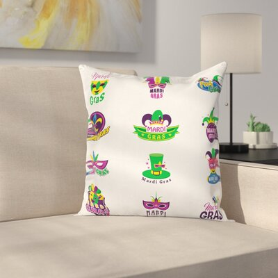 Mardi Gras Masks Ancient Lily Square Cushion Pillow Cover Size: 16 x 16