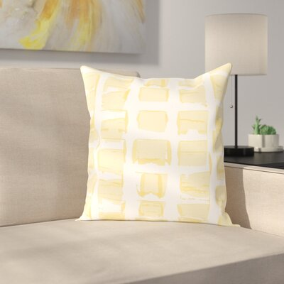 Check Throw Pillow Size: 14 H x 14 W x 2 D, Color: Yellow