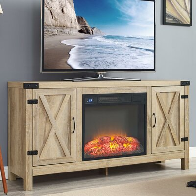 Richburg Blonde 58 TV Stand with Fireplace