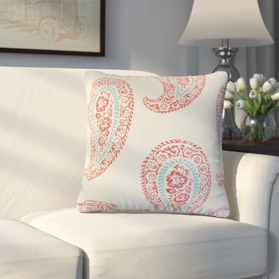 Oskar Geometric Linen Throw Pillow Color: Coral