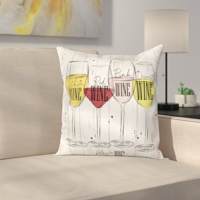 "Wine Four Types of Wine Rustic Square Pillow Cover Size: 16"" x 16"" ESUN8528 44267434"