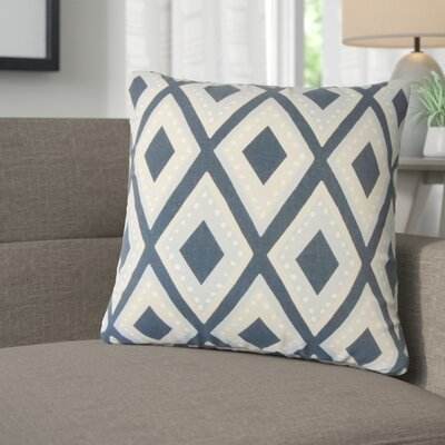 Amirah Geometric Cotton Throw Pillow Color: Blue