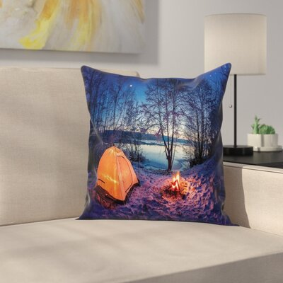 Forest Night Camping Adventure Square Pillow Cover Size: 16 x 16