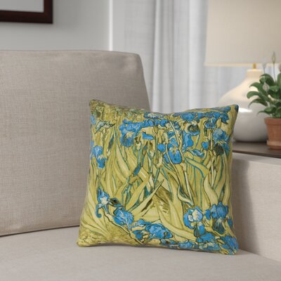 Bristol Woods Irises Pillow Cover Color: Yellow/Blue, Size: 16 x 16