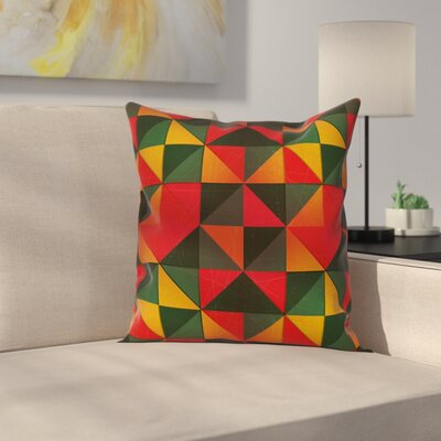 Geometric Graphic Print Square Pillow Cover with Zipper Size: 18 x 18