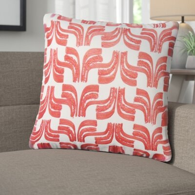 Warnke Geometric Embroidered 100% Cotton Throw Pillow Color: Red