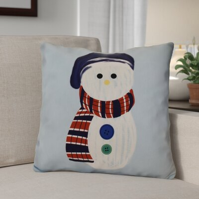 Sock Snowman Throw Pillow Size: 26 H x 26 W, Color: Light Blue