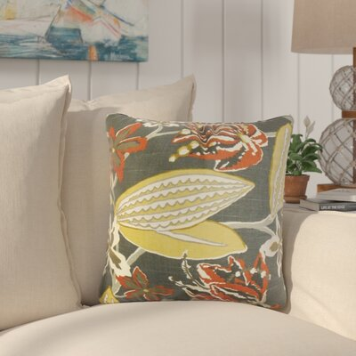 Behdad Floral Cotton Throw Pillow Color: Red