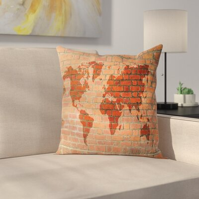 World Map on Brick Wall Square Pillow Cover Size: 16 x 16