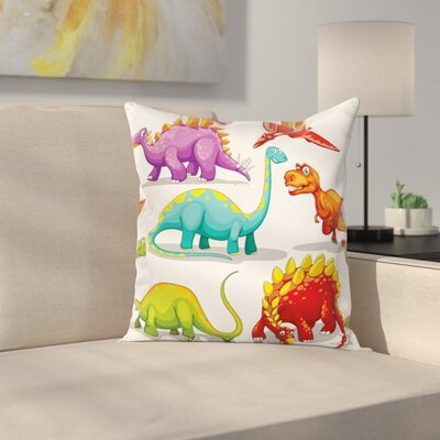 Dinosaur Friendly Fun Wildlife Square Cushion Pillow Cover Size: 18 x 18