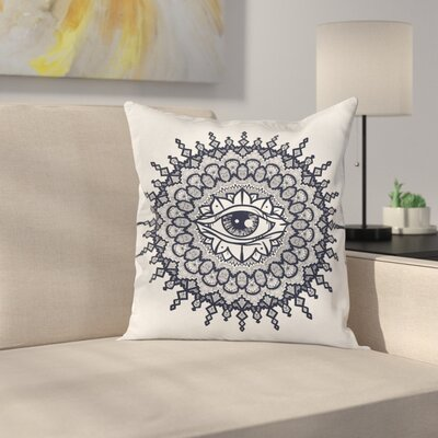 Fabric Traditional Mandala Art Square Pillow Cover Size: 24 x 24