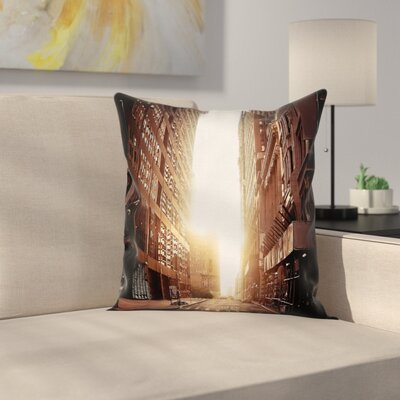 Cityscape Early Morning Sunrise Cushion Pillow Cover Size: 16 x 16