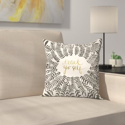 Treat Yo Self Throw Pillow Color: Black, Size: 16 x 16