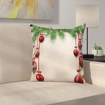 Christmas Balls Ribbons Square Pillow Cover Size: 16 x 16