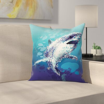 Shark Oceanlife Animal Square Pillow Cover Size: 20 x 20