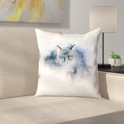 Splashy Cat Throw Pillow Size: 18 x 18