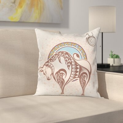 Zodiac Taurus Icon Astrology Square Pillow Cover Size: 18 x 18