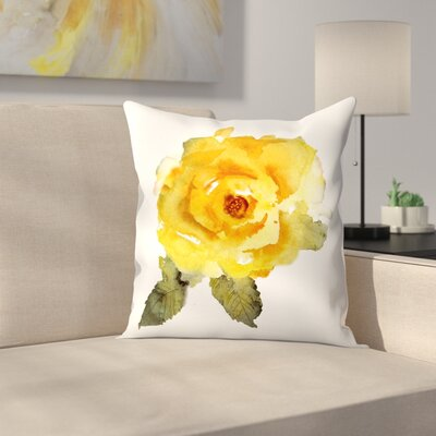 Yellow Rose Throw Pillow Size: 18 x 18