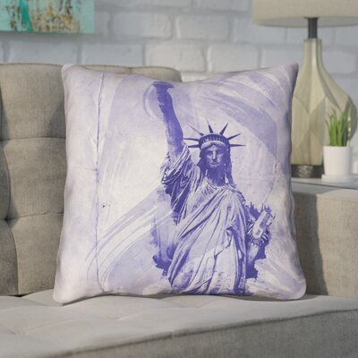 Houck Blue Watercolor Statue of Liberty Throw Pillow Size: 20 H x 20 W