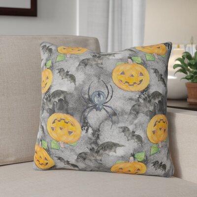 Watecolor Halloween Jack-O-Lantern Bats Outdoor Throw Pillow